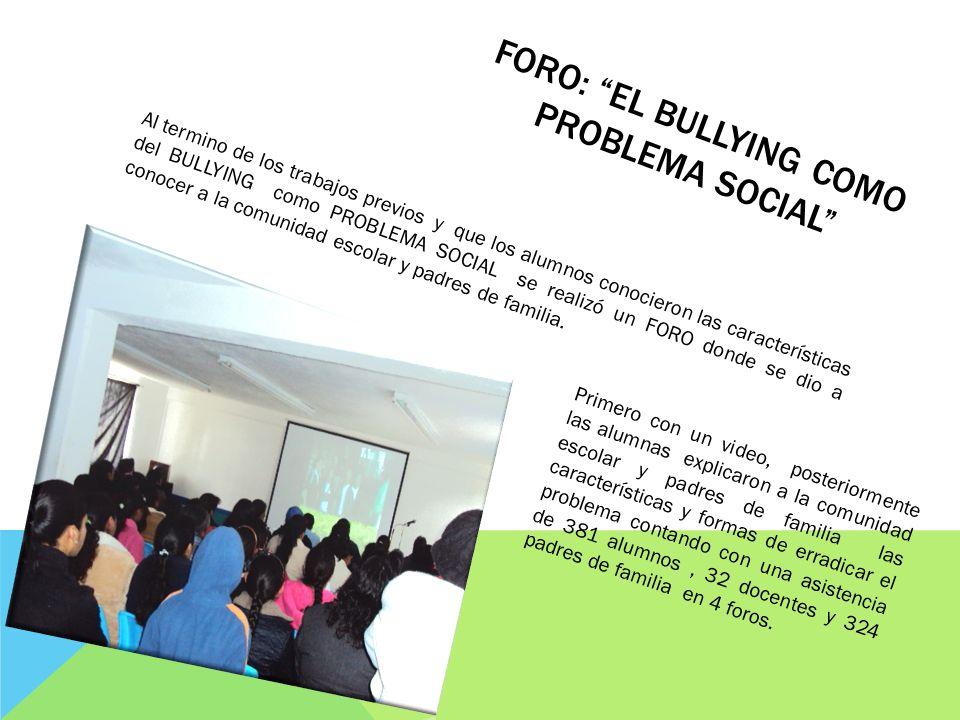 FORO: EL BULLYING COMO PROBLEMA SOCIAL