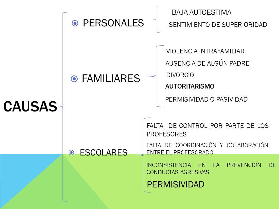 CAUSAS FAMILIARES PERSONALES ESCOLARES PERMISIVIDAD BAJA AUTOESTIMA