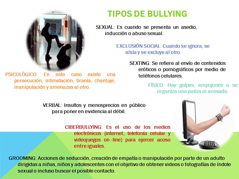 TIPOS DE BULLYING SEXUAL: Es cuando se presenta un asedio, inducción o abuso sexual.