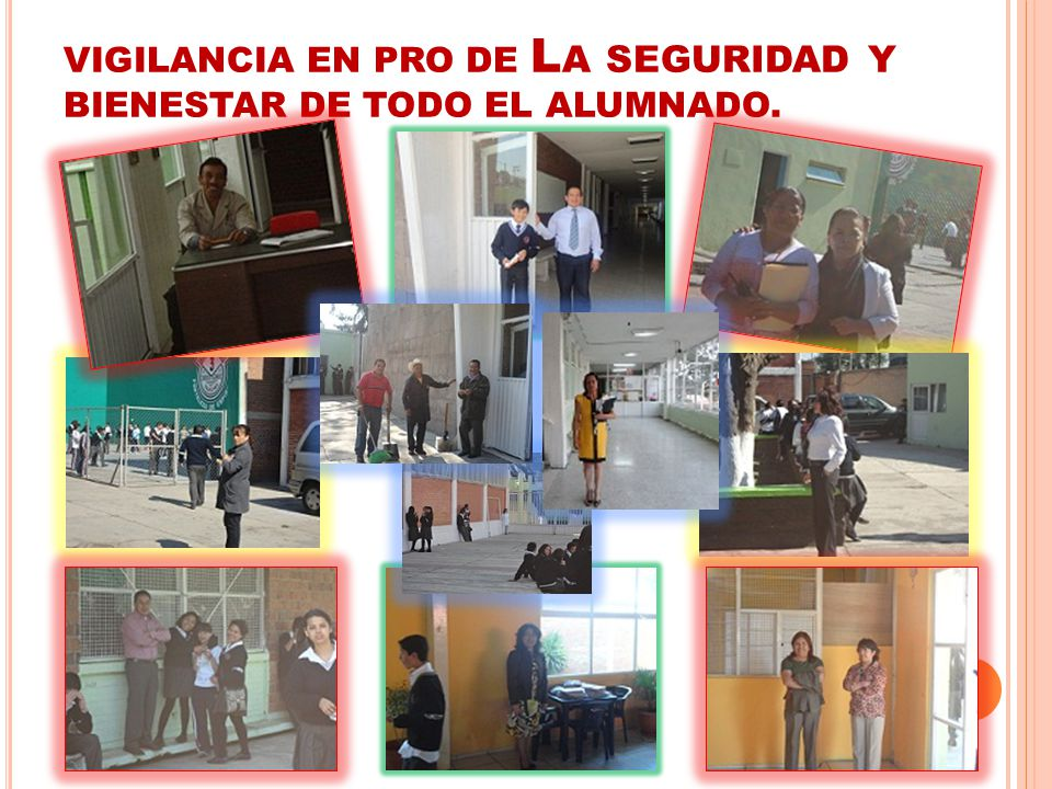 VIGILANCIA EN PRO DE La seguridad y BIENESTAR DE TODO EL ALUMNADO.