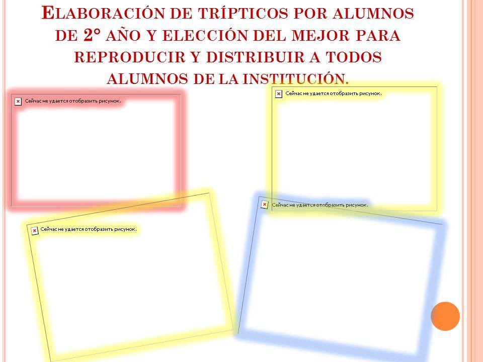 Elaboración de trípticos por alumnos de 2° año y elección del mejor para reproducir y distribuir a todos alumnos DE LA INSTITUCIÓN.