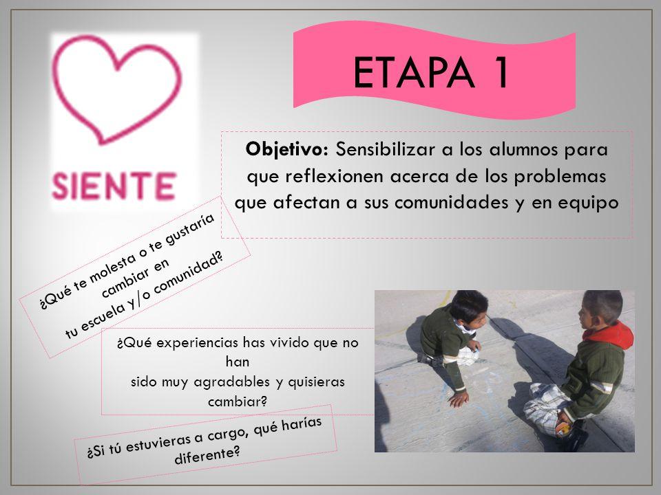 ETAPA 1 Objetivo: Sensibilizar a los alumnos para que reflexionen acerca de los problemas que afectan a sus comunidades y en equipo.