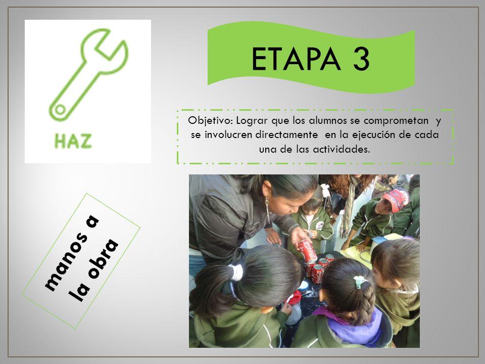 ETAPA 3 Objetivo: Lograr que los alumnos se comprometan y se involucren directamente en la ejecución de cada una de las actividades.