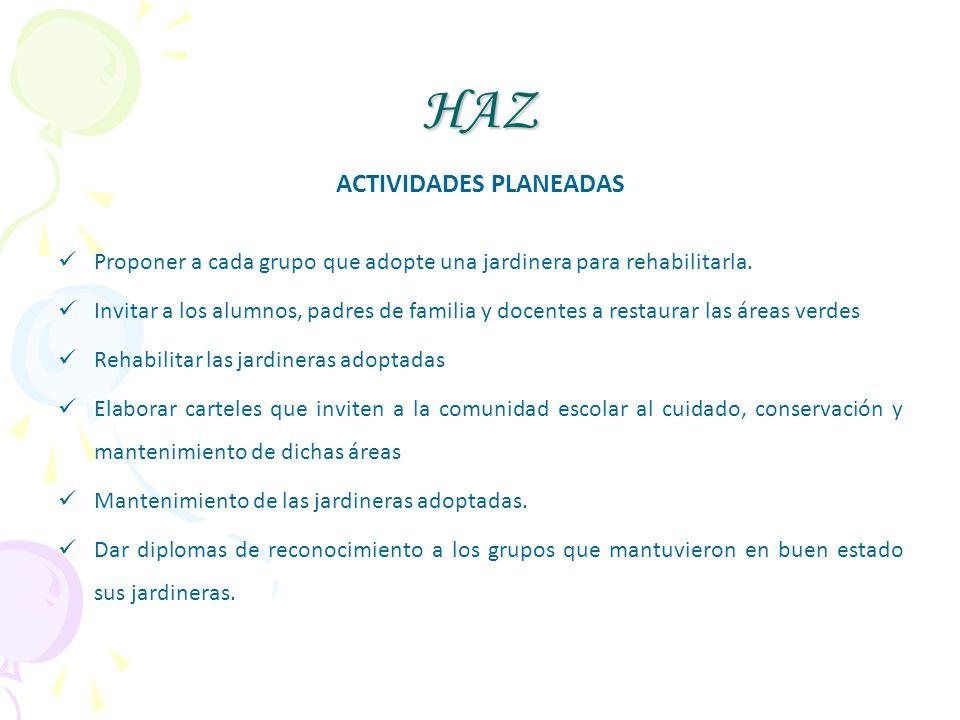 ACTIVIDADES PLANEADAS