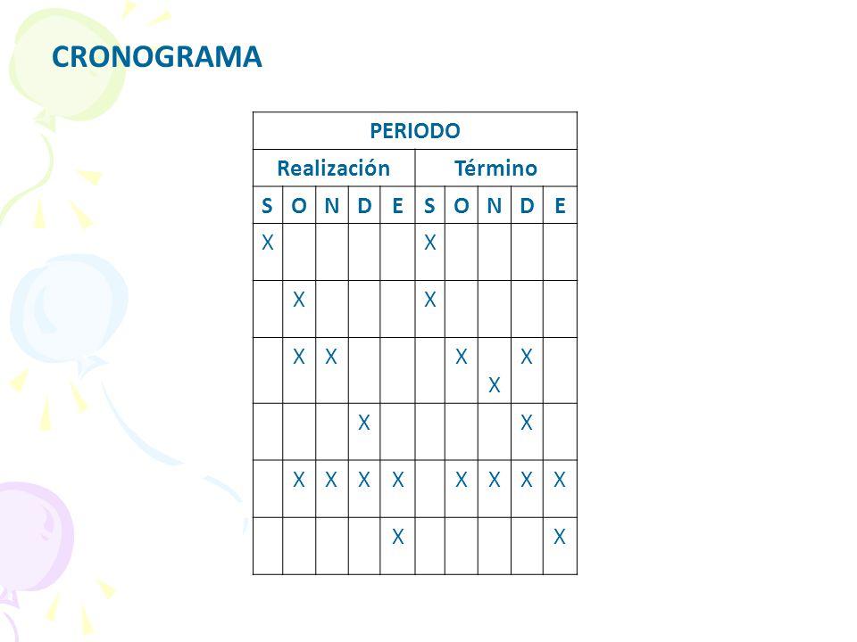 CRONOGRAMA PERIODO Realización Término S O N D E X