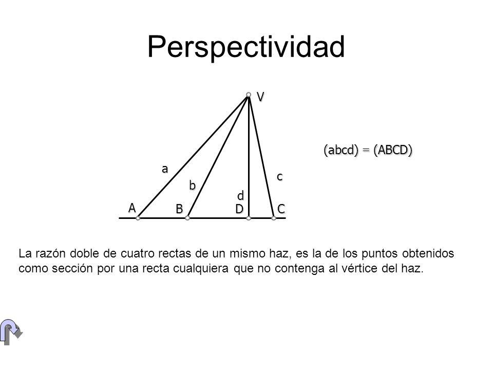 Perspectividad V (abcd) = (ABCD) a c b d A B D C