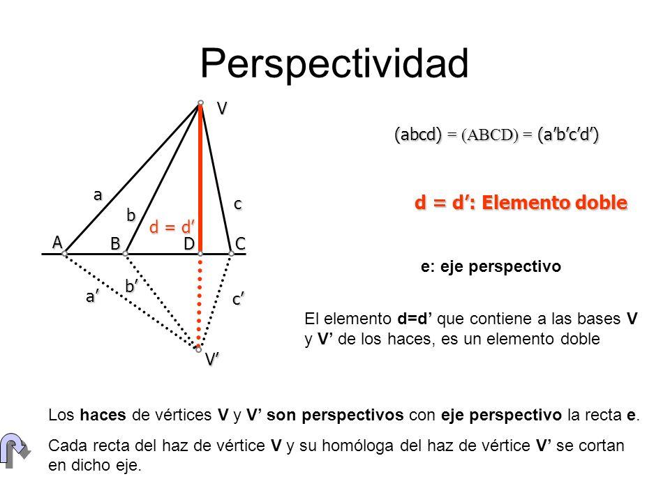 Perspectividad d = d': Elemento doble V a b c d = d' V' a' b' c' A B D
