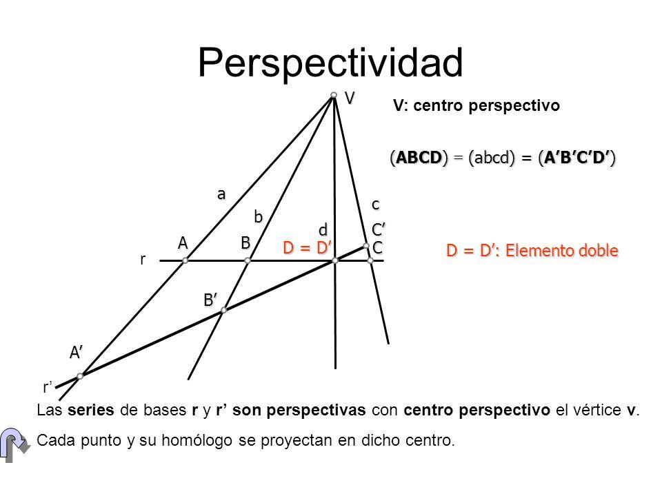 Perspectividad V V: centro perspectivo (ABCD) = (abcd) = (A'B'C'D') a