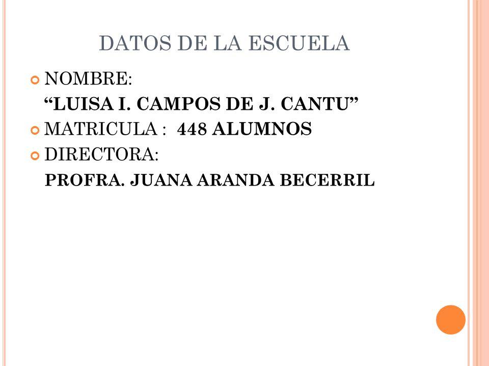 DATOS DE LA ESCUELA NOMBRE: LUISA I. CAMPOS DE J. CANTU