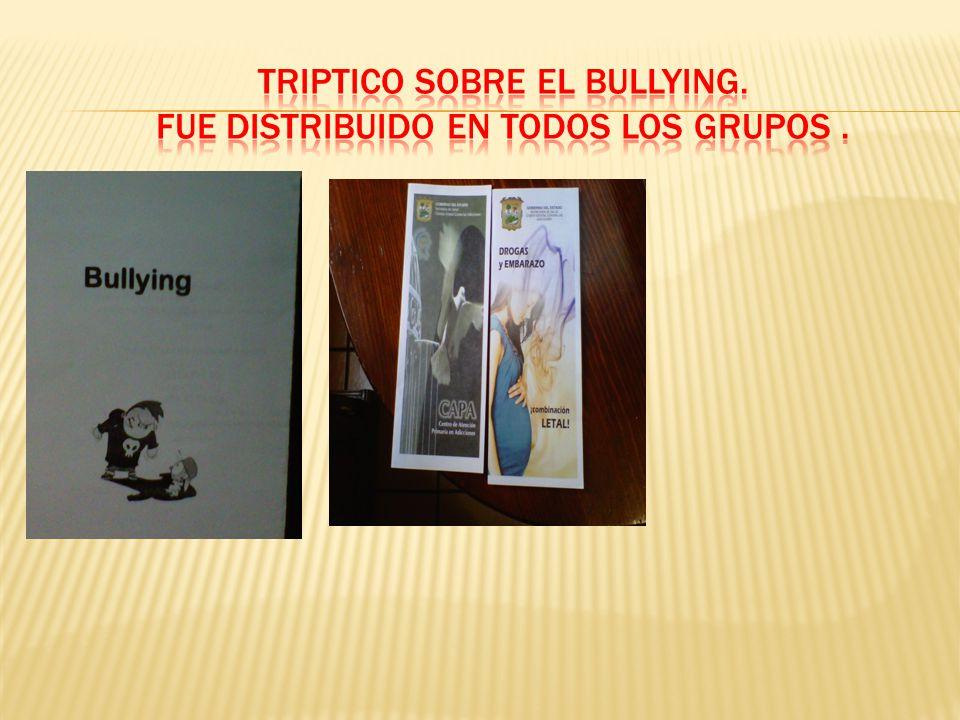 TRIPTICO SOBRE EL BULLYING. FUE DISTRIBUIDO EN TODOS LOS GRUPOS .