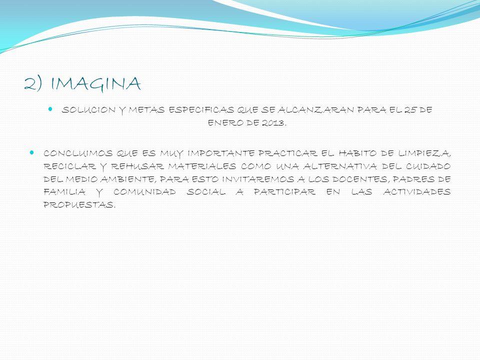 2) IMAGINA SOLUCION Y METAS ESPECIFICAS QUE SE ALCANZARAN PARA EL 25 DE ENERO DE 2013.