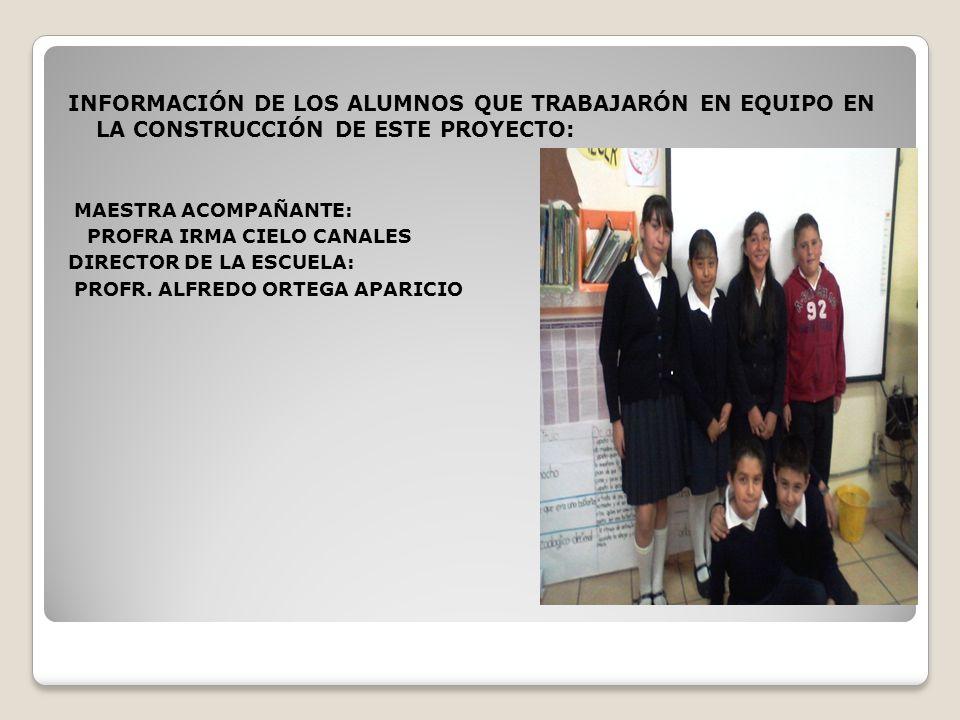 INFORMACIÓN DE LOS ALUMNOS QUE TRABAJARÓN EN EQUIPO EN LA CONSTRUCCIÓN DE ESTE PROYECTO:
