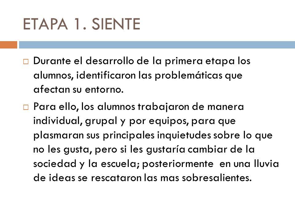 ETAPA 1. SIENTE Durante el desarrollo de la primera etapa los alumnos, identificaron las problemáticas que afectan su entorno.