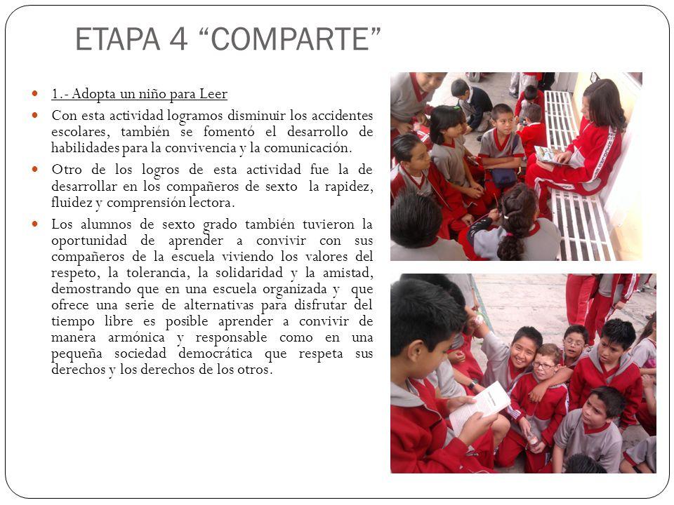 ETAPA 4 COMPARTE 1.- Adopta un niño para Leer