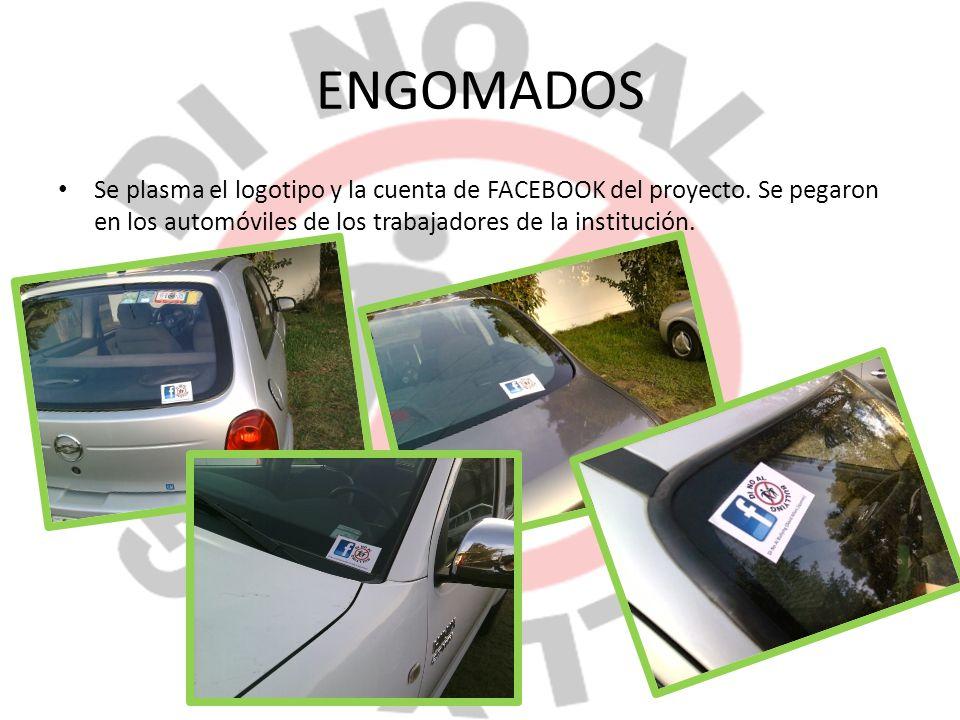 ENGOMADOS Se plasma el logotipo y la cuenta de FACEBOOK del proyecto.