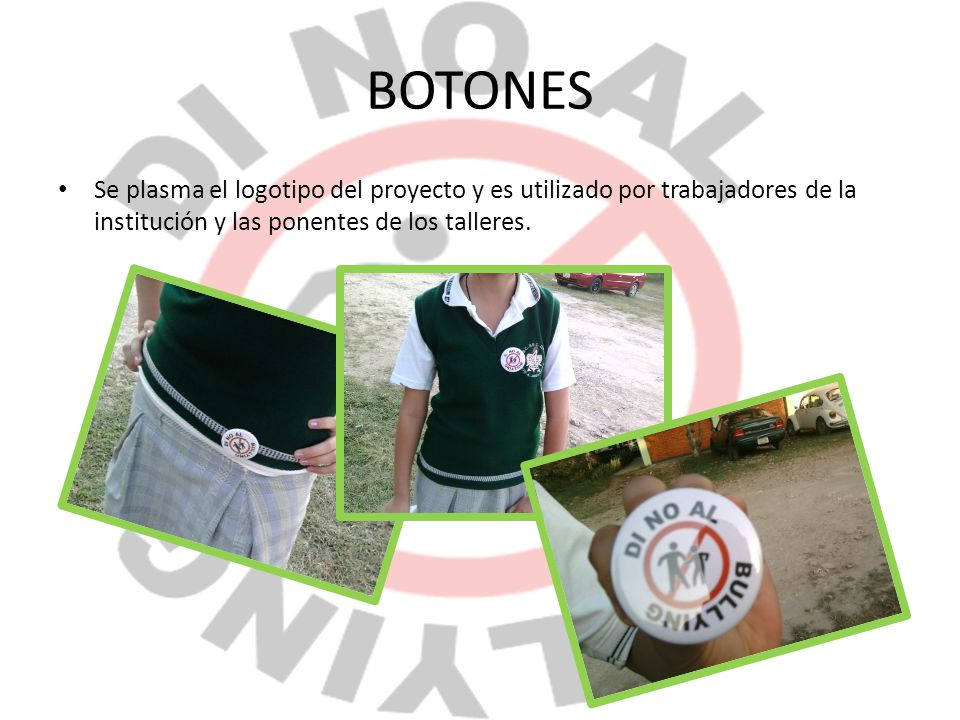 BOTONES Se plasma el logotipo del proyecto y es utilizado por trabajadores de la institución y las ponentes de los talleres.