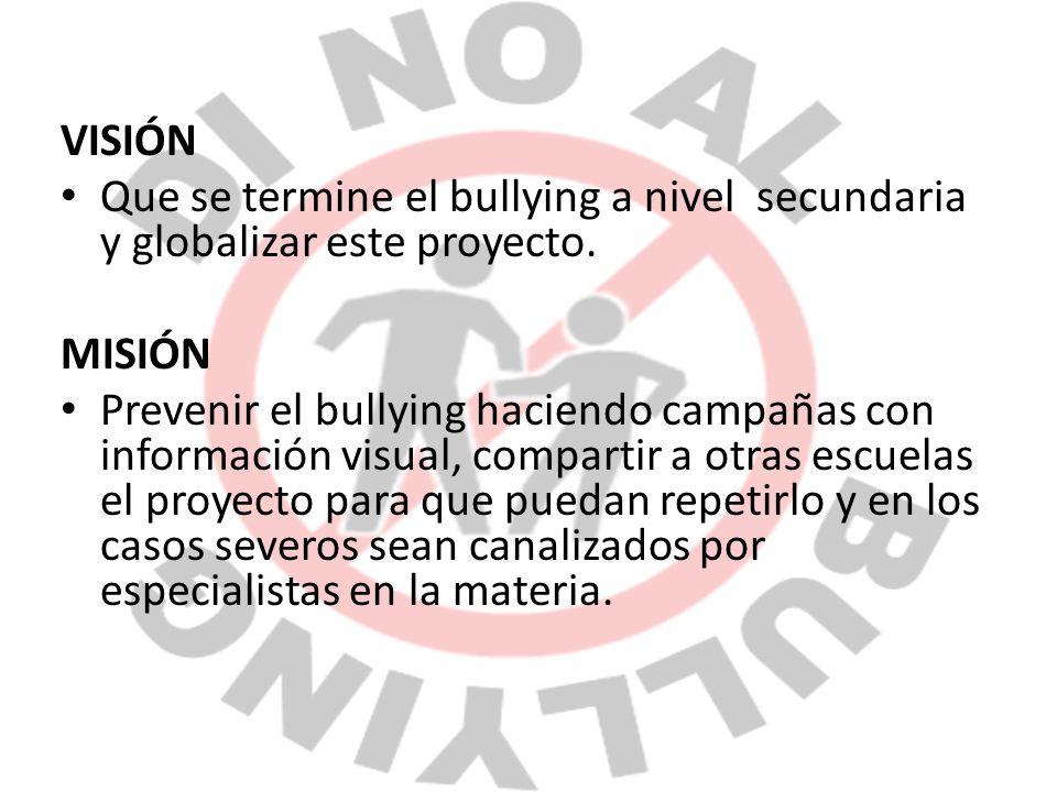 VISIÓN Que se termine el bullying a nivel secundaria y globalizar este proyecto. MISIÓN.