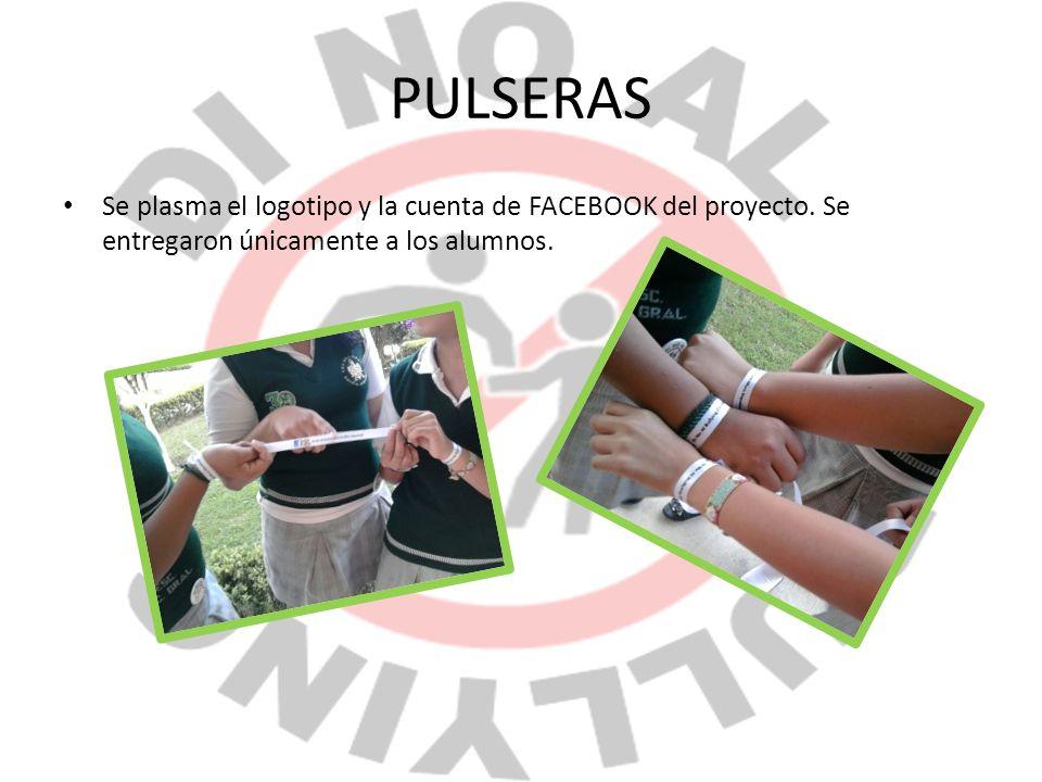 PULSERAS Se plasma el logotipo y la cuenta de FACEBOOK del proyecto.