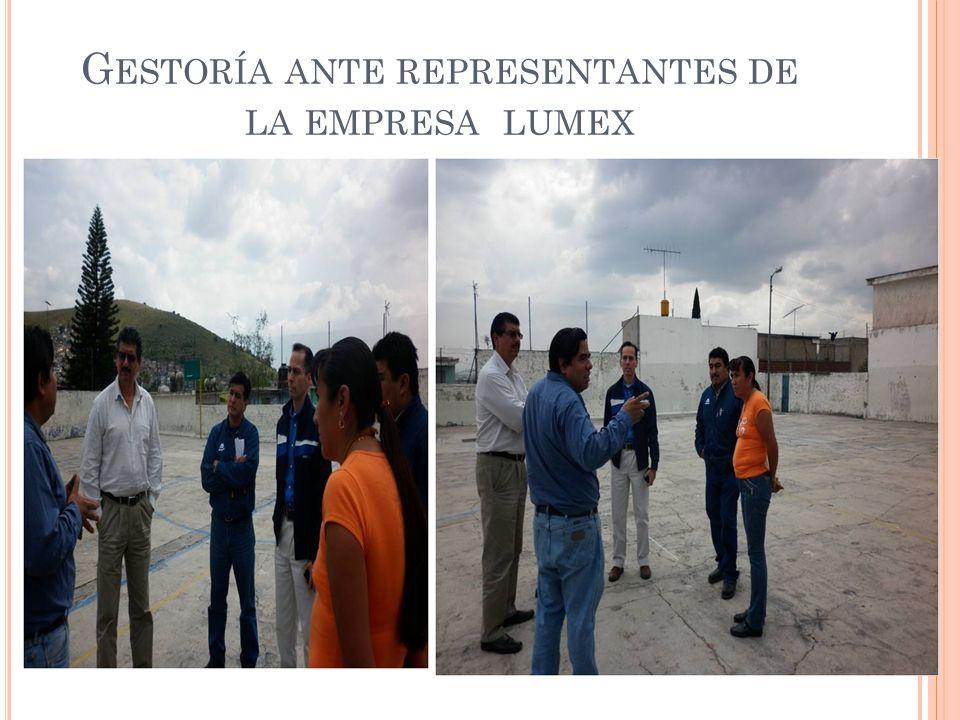 Gestoría ante representantes de la empresa lumex