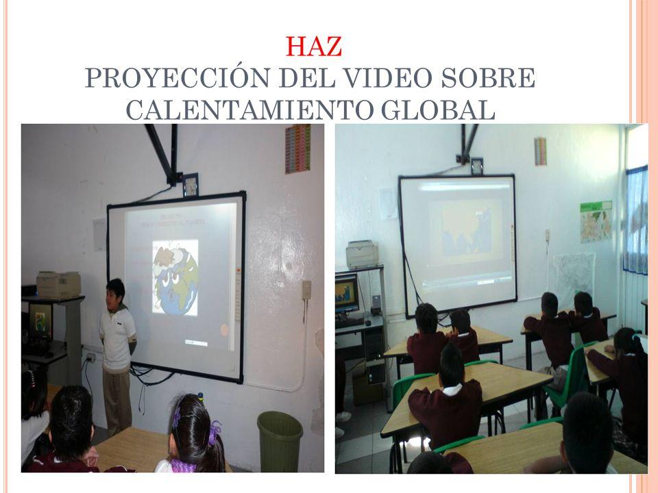 HAZ PROYECCIÓN DEL VIDEO SOBRE CALENTAMIENTO GLOBAL