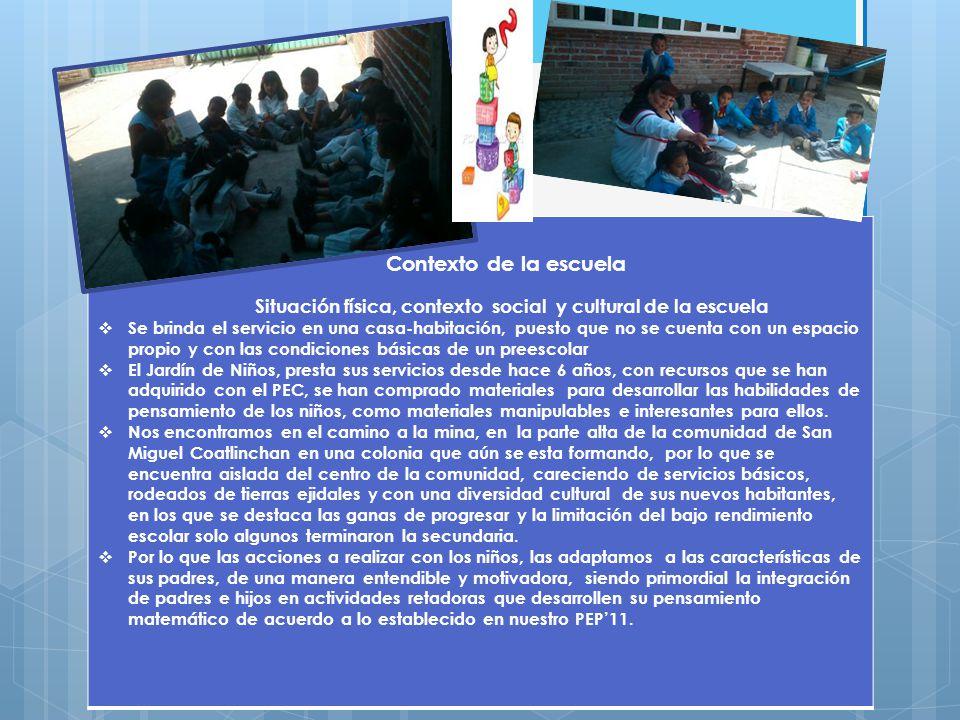 Contexto de la escuela Situación física, contexto social y cultural de la escuela.