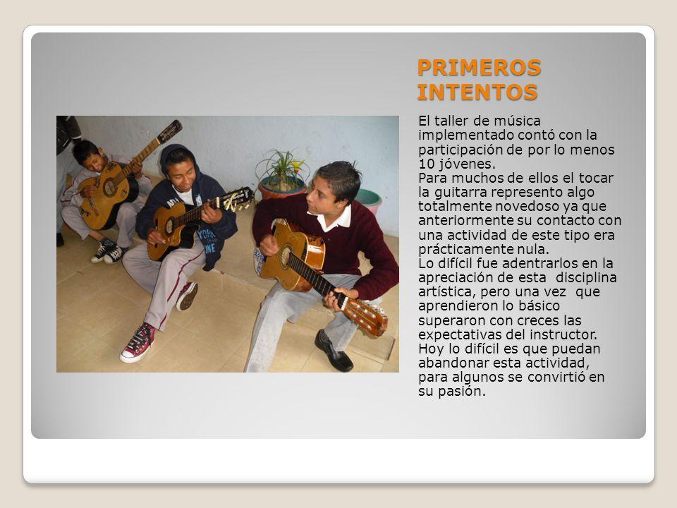 PRIMEROS INTENTOS El taller de música implementado contó con la participación de por lo menos 10 jóvenes.