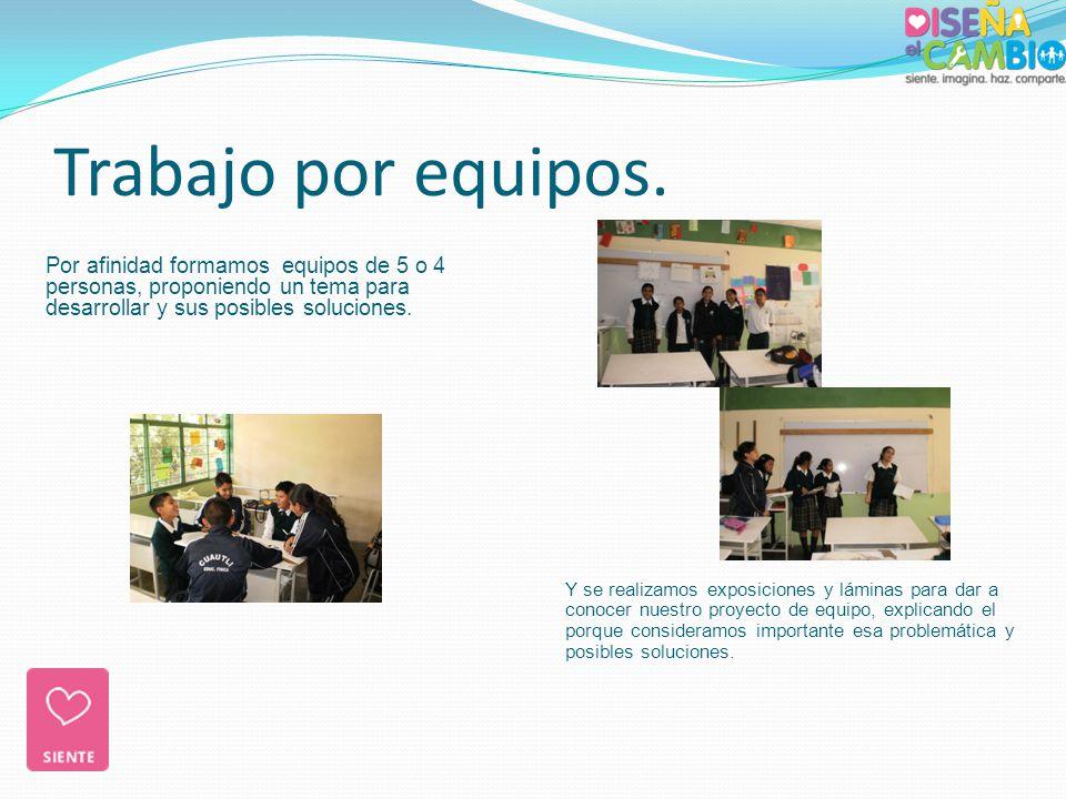 Trabajo por equipos. Por afinidad formamos equipos de 5 o 4 personas, proponiendo un tema para desarrollar y sus posibles soluciones.
