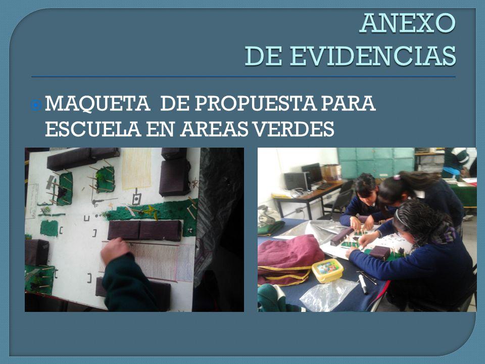 ANEXO DE EVIDENCIAS MAQUETA DE PROPUESTA PARA ESCUELA EN AREAS VERDES
