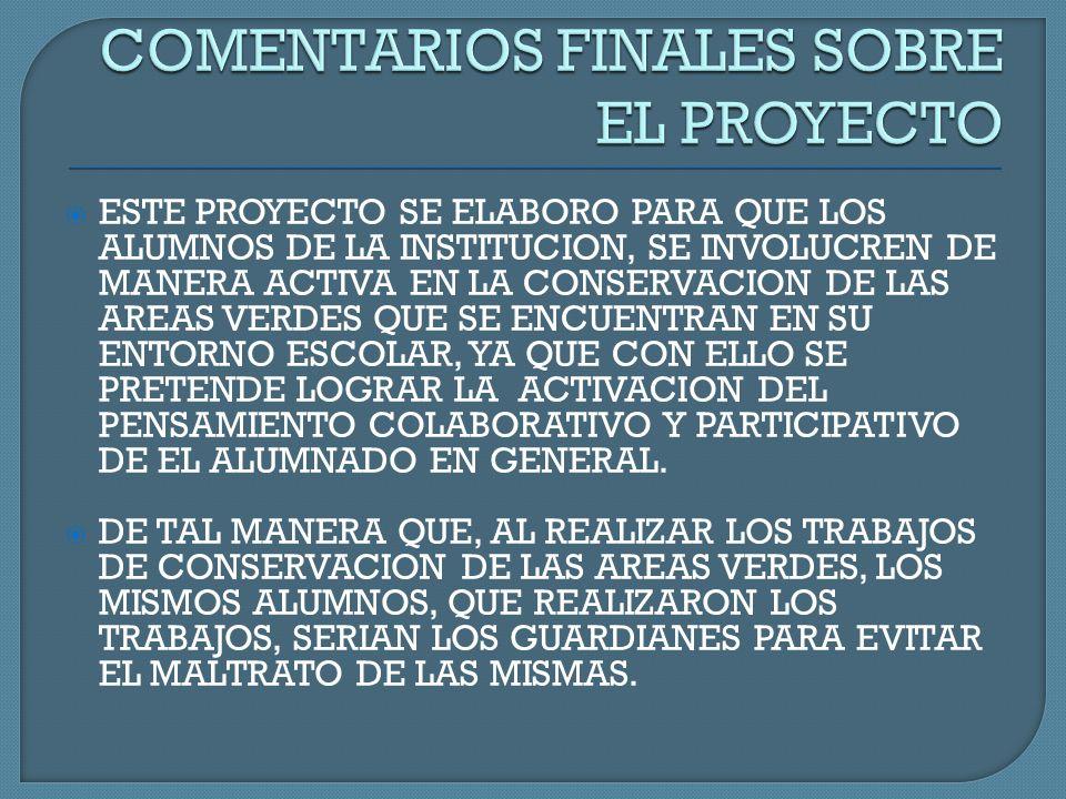 COMENTARIOS FINALES SOBRE EL PROYECTO