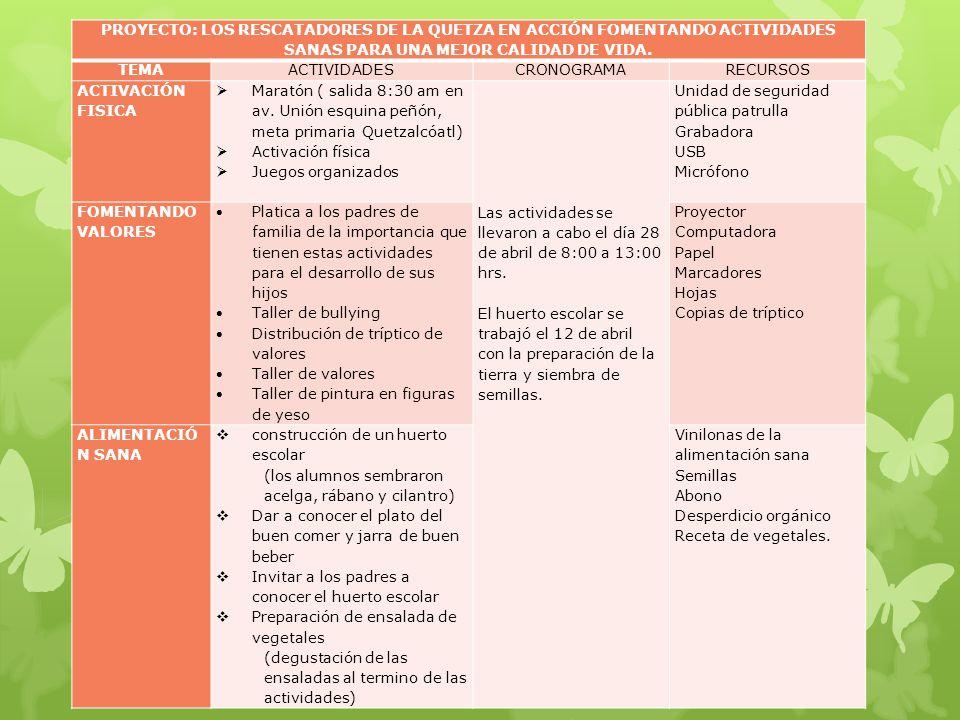 PROYECTO: LOS RESCATADORES DE LA QUETZA EN ACCIÓN FOMENTANDO ACTIVIDADES SANAS PARA UNA MEJOR CALIDAD DE VIDA.