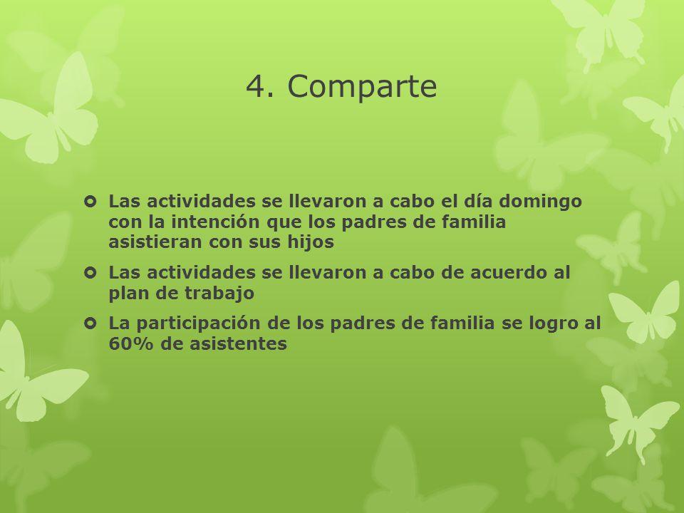 4. Comparte Las actividades se llevaron a cabo el día domingo con la intención que los padres de familia asistieran con sus hijos.