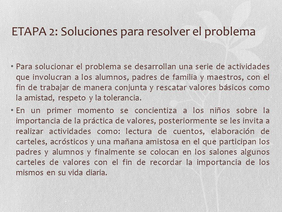 ETAPA 2: Soluciones para resolver el problema