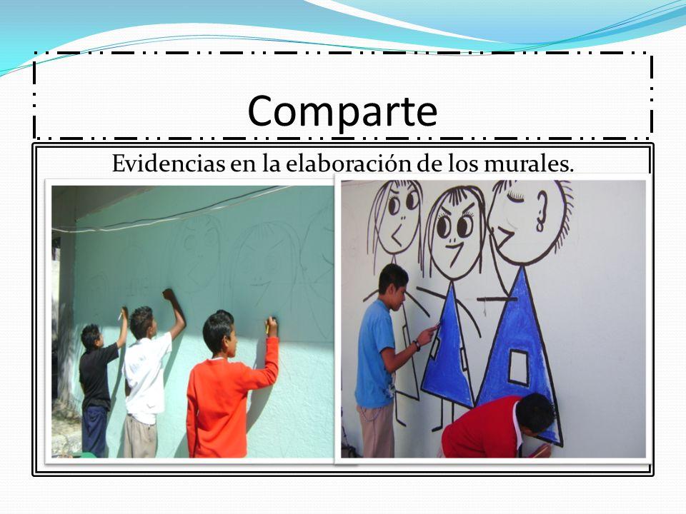 Evidencias en la elaboración de los murales.