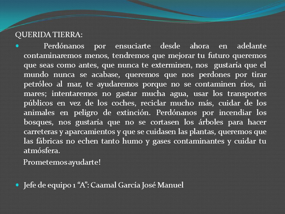 QUERIDA TIERRA: