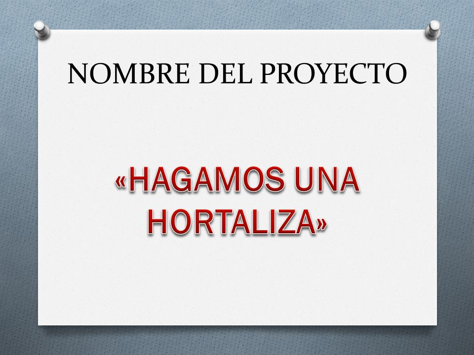 «HAGAMOS UNA HORTALIZA»