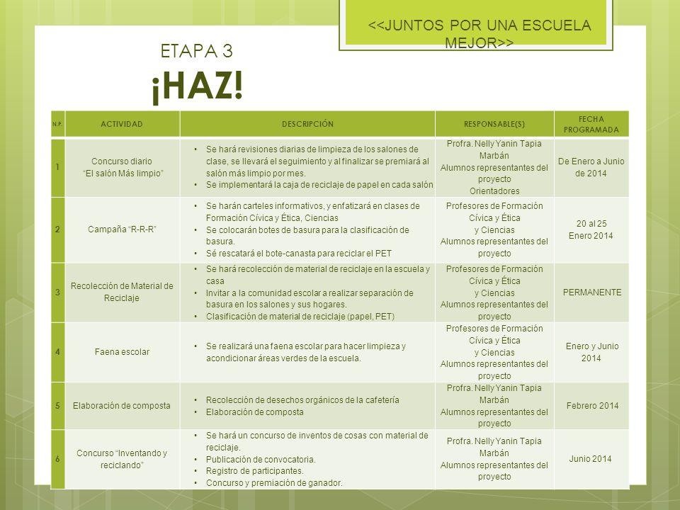 ETAPA 3 ¡HAZ! <<JUNTOS POR UNA ESCUELA MEJOR>> 1