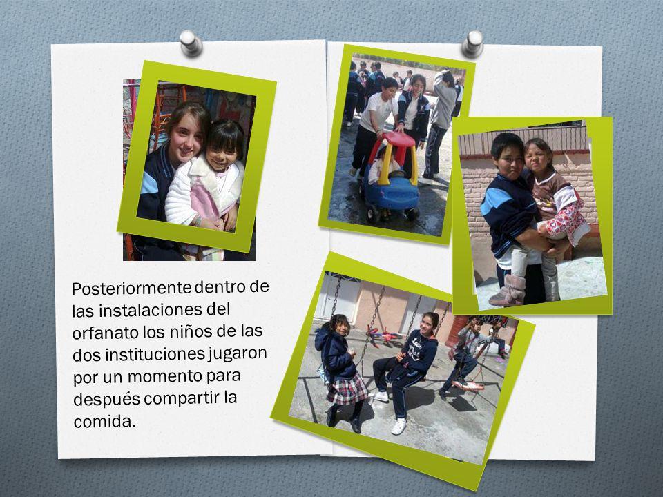 Posteriormente dentro de las instalaciones del orfanato los niños de las dos instituciones jugaron por un momento para después compartir la comida.