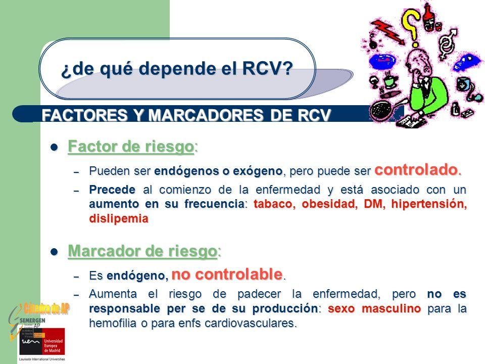 Cátedra de AP ¿de qué depende el RCV FACTORES Y MARCADORES DE RCV