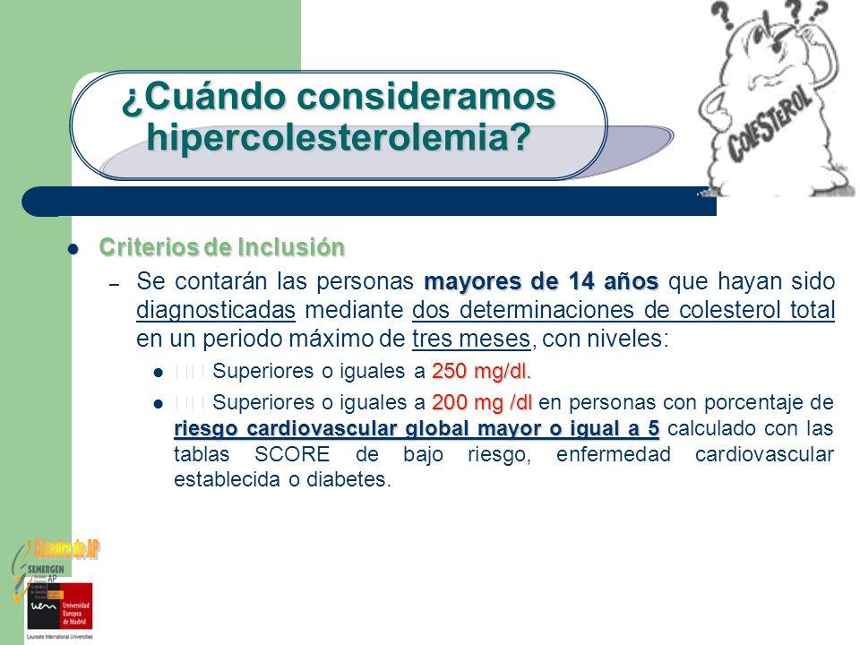 ¿Cuándo consideramos hipercolesterolemia