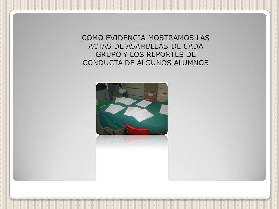 COMO EVIDENCIA MOSTRAMOS LAS ACTAS DE ASAMBLEAS DE CADA GRUPO Y LOS REPORTES DE CONDUCTA DE ALGUNOS ALUMNOS