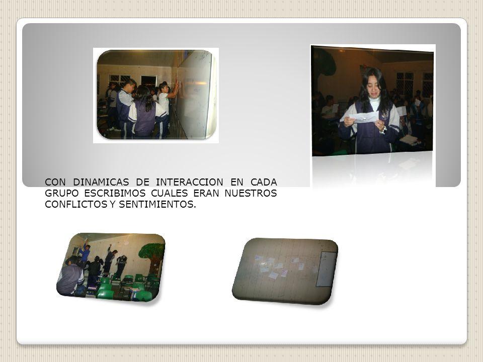 CON DINAMICAS DE INTERACCION EN CADA GRUPO ESCRIBIMOS CUALES ERAN NUESTROS CONFLICTOS Y SENTIMIENTOS.