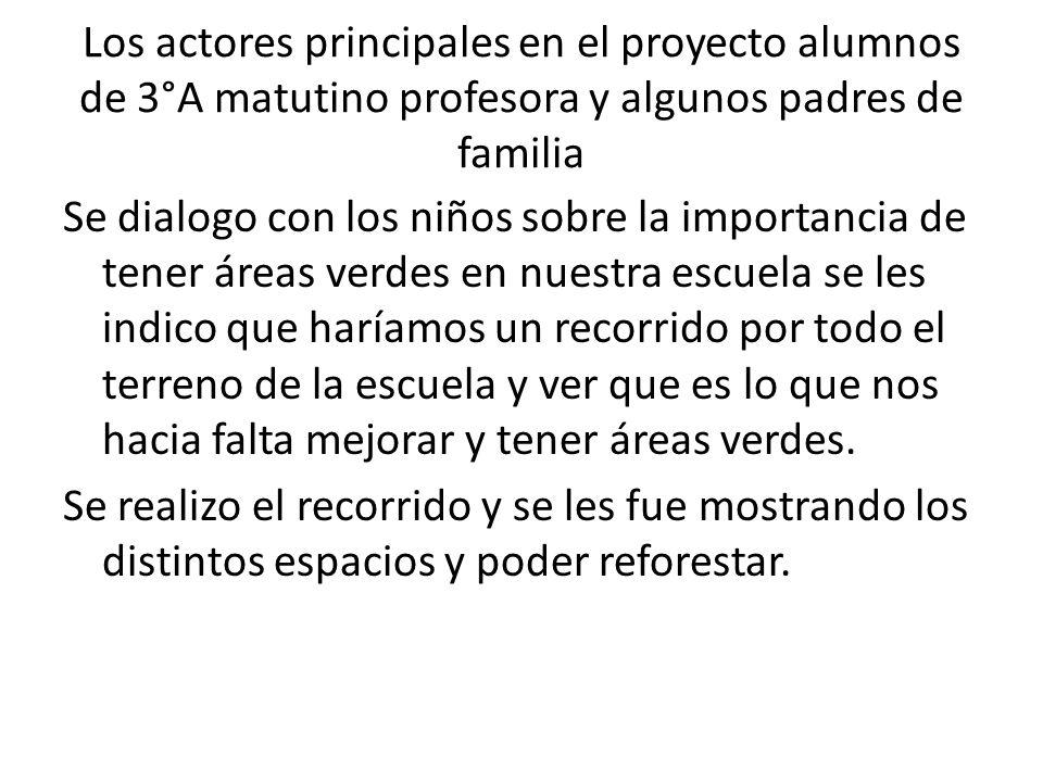 Los actores principales en el proyecto alumnos de 3°A matutino profesora y algunos padres de familia