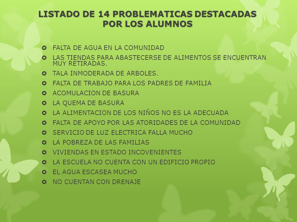 LISTADO DE 14 PROBLEMATICAS DESTACADAS POR LOS ALUMNOS