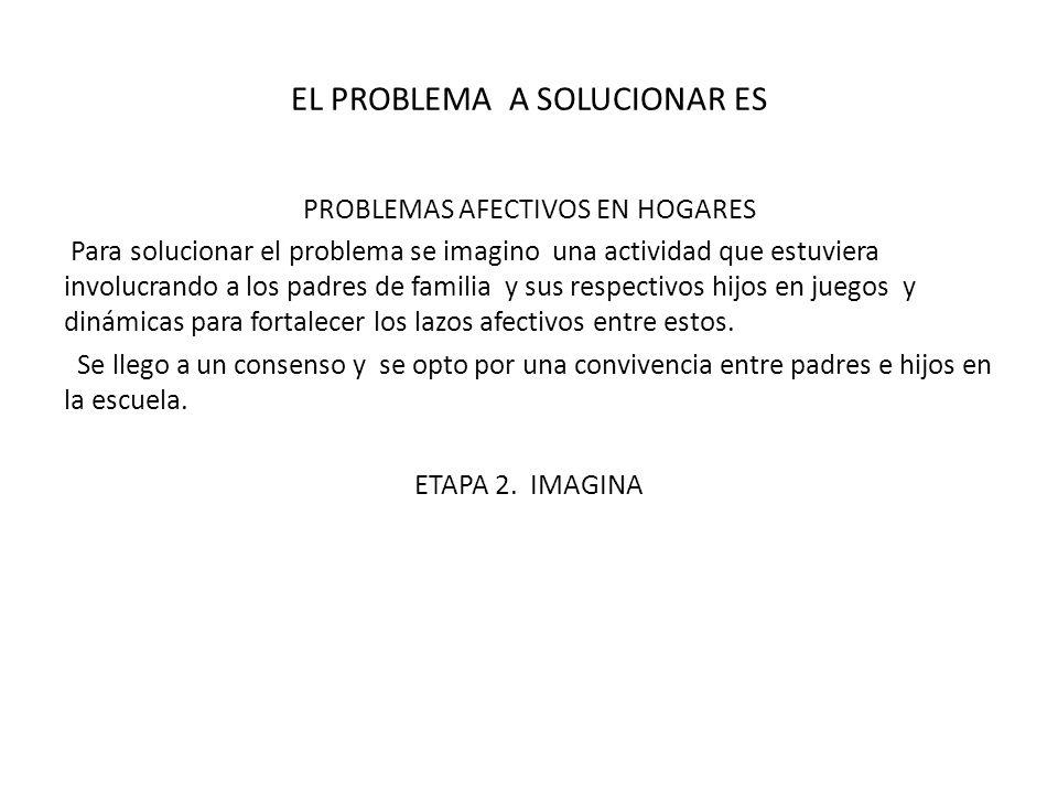 EL PROBLEMA A SOLUCIONAR ES