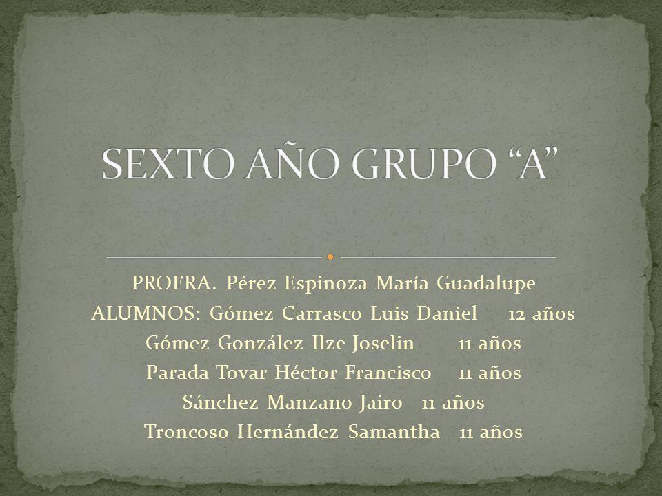 SEXTO AÑO GRUPO A PROFRA. Pérez Espinoza María Guadalupe
