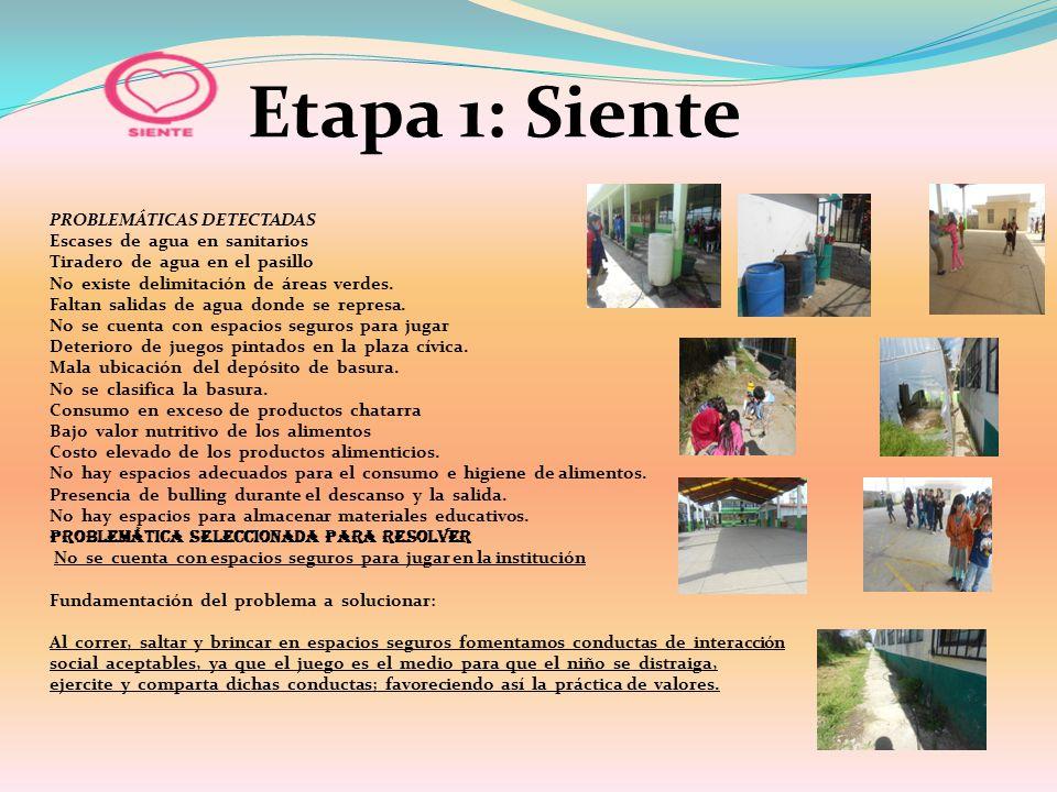Etapa 1: Siente PROBLEMÁTICAS DETECTADAS Escases de agua en sanitarios