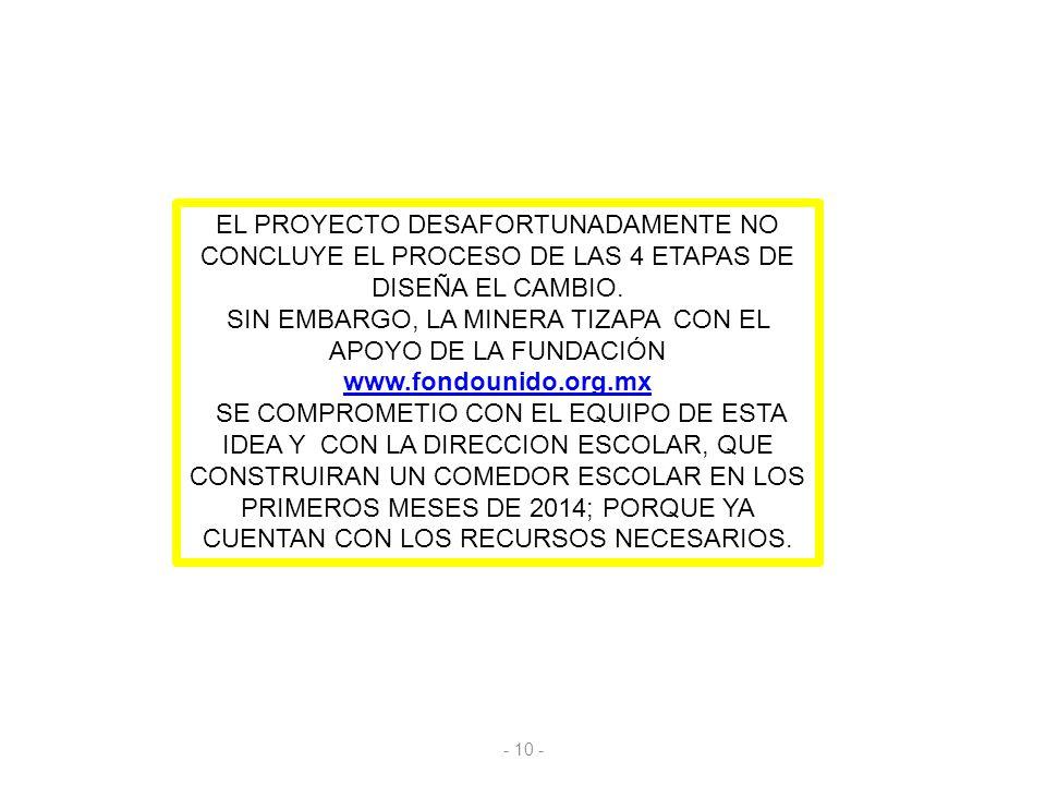 EL PROYECTO DESAFORTUNADAMENTE NO CONCLUYE EL PROCESO DE LAS 4 ETAPAS DE DISEÑA EL CAMBIO.