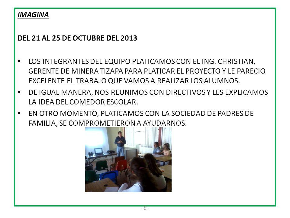 IMAGINA DEL 21 AL 25 DE OCTUBRE DEL 2013