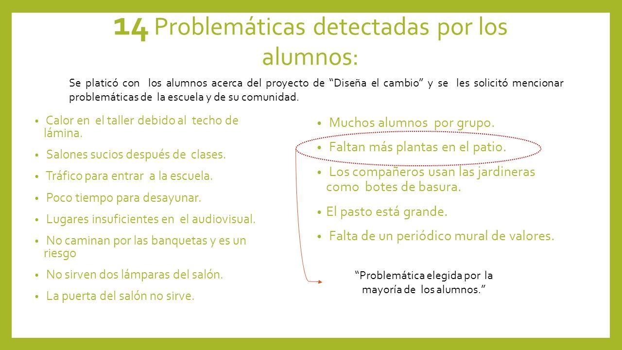 14 Problemáticas detectadas por los alumnos: