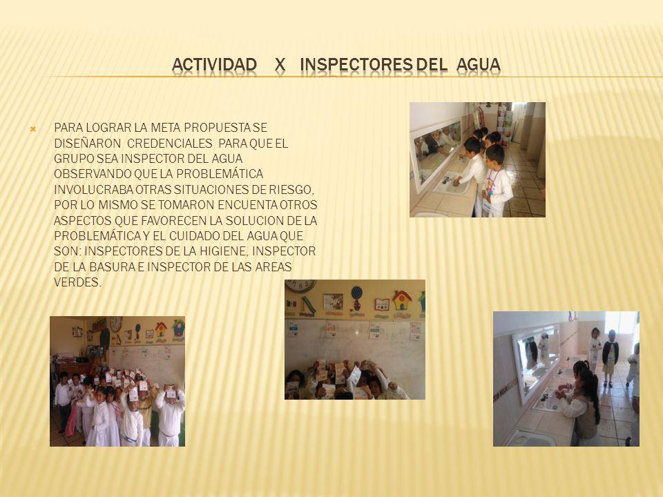 ACTIVIDAD X INSPECTORES DEL AGUA